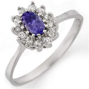 0.60 ctw Tanzanite & Diamond Ring 14k White Gold -