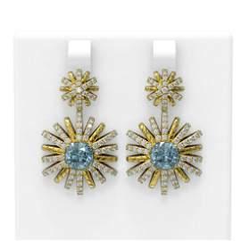 5.63 ctw Aquamarine & Diamond Earrings 18K Yellow Gold
