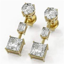 3.5 ctw Princess Cut Diamond Designer Earrings 18K