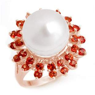 1.50 ctw Red Sapphire & Pearl Ring 14k Rose Gold -