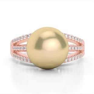 0.30 ctw Micro Pave VS/SI Diamond & Golden Pearl Ring