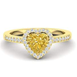 1 ctw Citrine & Micro Pave Ring Heart Halo 14k Yellow