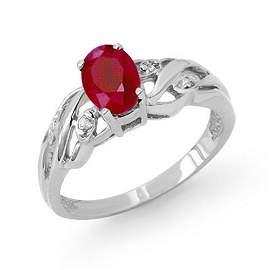 1.02 ctw Ruby & Diamond Ring 18k White Gold - REF-25R2K