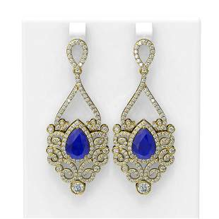 11.26 ctw Sapphire & Diamond Earrings 18K Yellow Gold -
