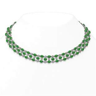 63.65 ctw Jade & Diamond Necklace 10K White Gold -