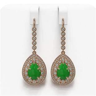 8.15 ctw Jade & Diamond Victorian Earrings 14K Rose