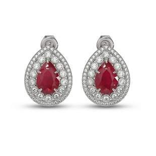 9.74 ctw Certified Ruby & Diamond Victorian Earrings