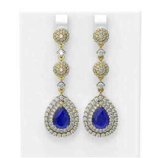 11.87 ctw Sapphire & Diamond Earrings 18K Yellow Gold -