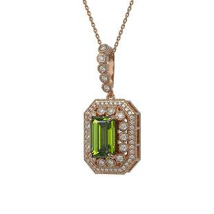 6.7 ctw Tourmaline & Diamond Victorian Necklace 14K