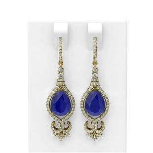 8.63 ctw Sapphire & Diamond Earrings 18K Yellow Gold -