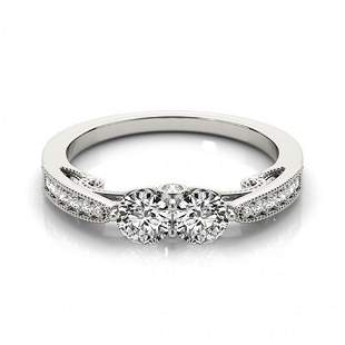 1.25 ctw VS/SI Diamond 2 Stone Ring 14k White Gold -