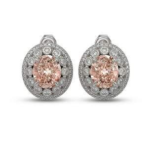 13.41 ctw Morganite & Diamond Victorian Earrings 14K