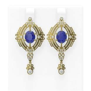11.24 ctw Sapphire & Diamond Earrings 18K Yellow Gold -