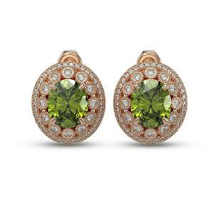 14.61 ctw Tourmaline & Diamond Victorian Earrings 14K