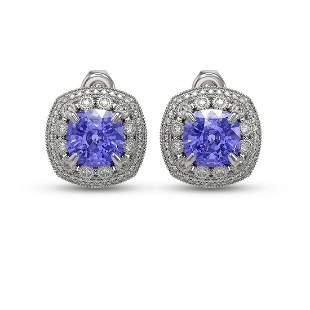 12.99 ctw Tanzanite & Diamond Victorian Earrings 14K