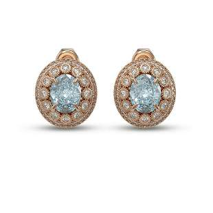 7.24 ctw Aquamarine & Diamond Victorian Earrings 14K