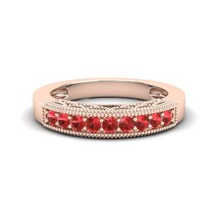 0.50 ctw RED Sapphire Band Art Deco 10k Rose Gold -