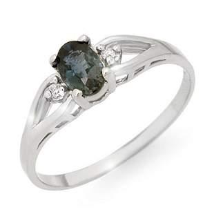 0.52 ctw Blue Sapphire & Diamond Ring 18k White Gold -