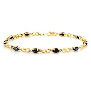 3.42 ctw Blue Sapphire & Diamond Bracelet 10k Yellow