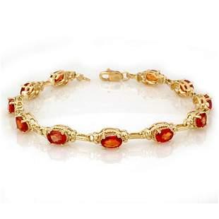 8.0 ctw Orange Sapphire Bracelet 10k Yellow Gold -