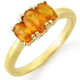 1.18 ctw Orange Sapphire Ring 10k Yellow Gold -