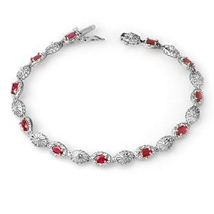 4.17 ctw Ruby & Diamond Bracelet 10k White Gold -