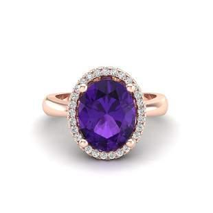 2.50 ctw Amethyst & Micro Pave VS/SI Diamond Ring 14k