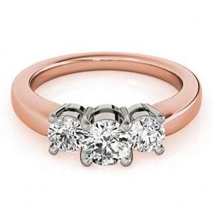 0.5 ctw Certified VS/SI Diamond 3 Stone Ring 14k Rose
