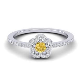 0.40 ctw Citrine & Micro VS/SI Diamond Ring 10k White