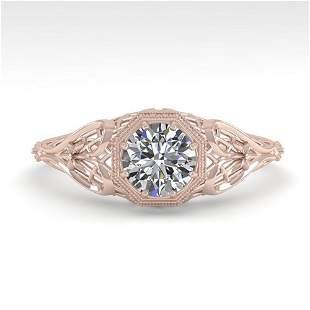 0.50 ctw VS/SI Diamond Solitaire Ring Art Deco 14k Rose