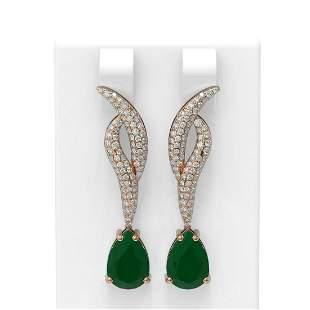6.79 ctw Emerald & Diamond Earrings 18K Rose Gold -