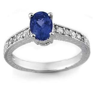 1.02 ctw Blue Sapphire & Diamond Ring 14k White Gold -