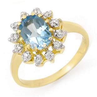 1.51 ctw Blue Topaz & Diamond Ring 10k Yellow Gold -