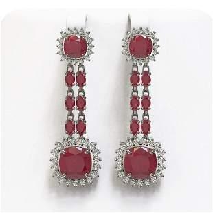 19.88 ctw Ruby & Diamond Earrings 14K White Gold -