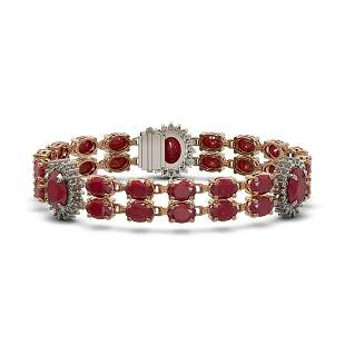 20.99 ctw Ruby & Diamond Bracelet 14K Rose Gold -