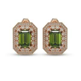 12.99 ctw Tourmaline & Diamond Victorian Earrings 14K