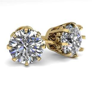 3 ctw VS/SI Diamond Stud Solitaire Earrings Vintage 18K