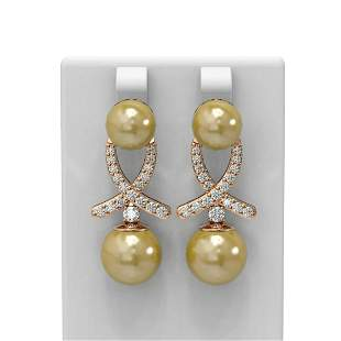 1.3 ctw Pearl & Diamond Earrings 18K Rose Gold -