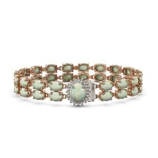 13.69 ctw Opal & Diamond Bracelet 14K Rose Gold -