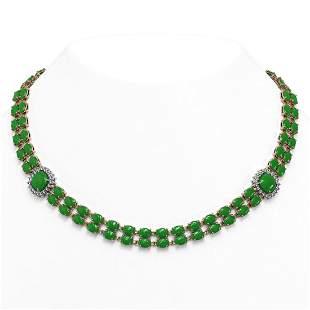 29.39 ctw Jade & Diamond Necklace 14K Rose Gold -