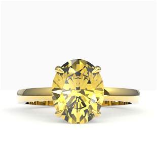 2.50 ctw Citrine Designer Solitaire Ring 18k Yellow