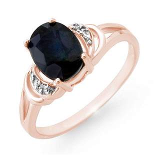 2.06 ctw Blue Sapphire & Diamond Ring 14k Rose Gold -
