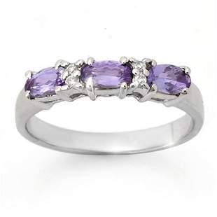 0.82 ctw Tanzanite & Diamond Ring 10k White Gold -