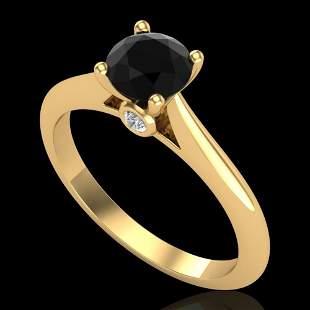 0.83 ctw Fancy Black Diamond Engagment Art Deco Ring