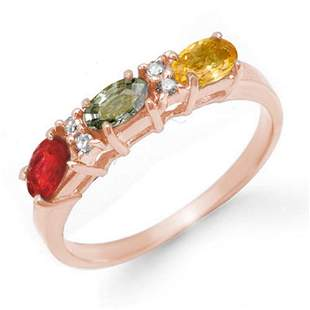 1.10 ctw Multi-Sapphire & Diamond Ring 14k Rose Gold -