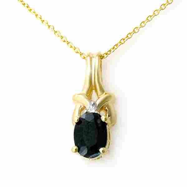 1.12 ctw Blue Sapphire & Diamond Pendant 10k Yellow
