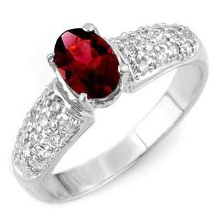 1.50 ctw Pink Tourmaline & Diamond Ring 18k White Gold