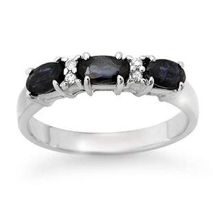 1.09 ctw Blue Sapphire & Diamond Ring 10k White Gold -