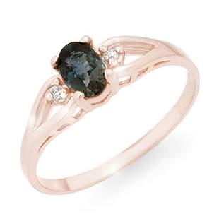 0.52 ctw Blue Sapphire & Diamond Ring 14k Rose Gold -
