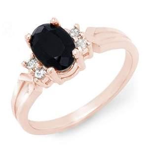 1.29 ctw Blue Sapphire & Diamond Ring 14k Rose Gold -
